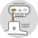 Connect the headset adapter to the power bank
